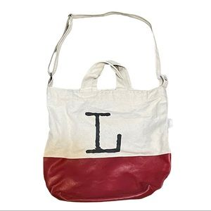 """BAGGU canvas tote with red painted bottom """"L"""""""